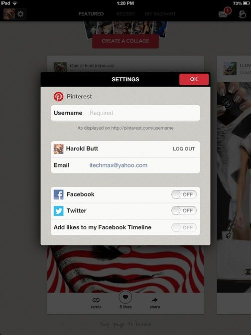 Bazaart: Create & Share Visually Appealing Collages Out Of Your Pinterest Images [iPad] setting