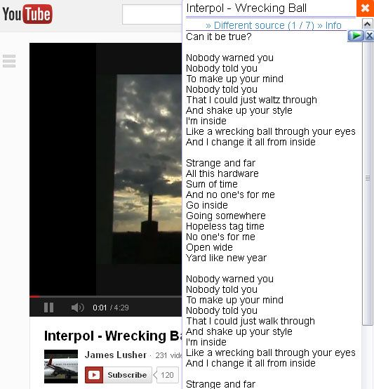 youtube lyrics1   YouTube Lyrics: A Browser Add On To Get Lyrics For YouTube & Grooveshark Songs