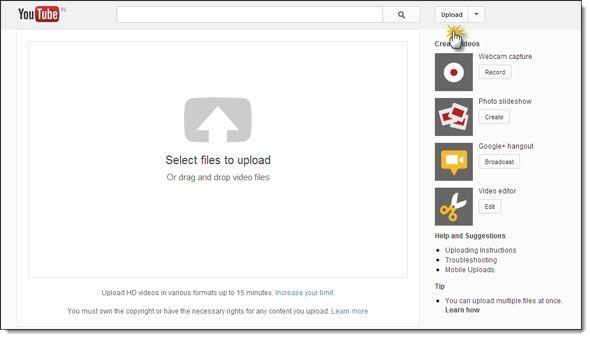 upload photo slideshow youtube