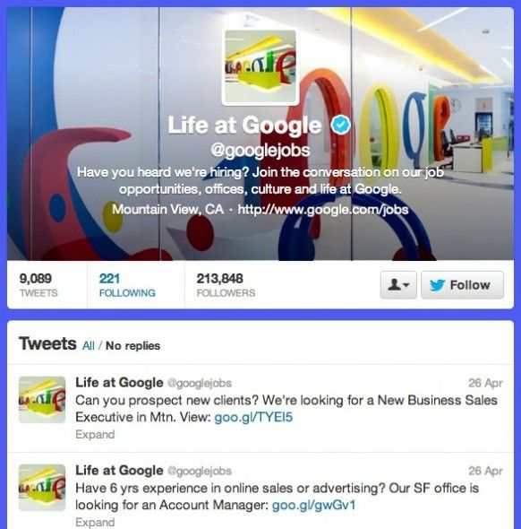 How To Use Twitter To Help You Find A Job  Google 582x590