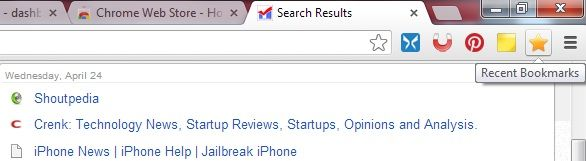recently bookmarked chrome