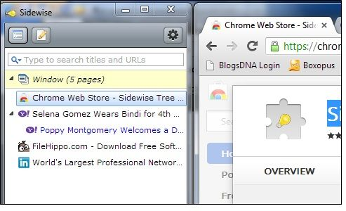 Sidewise Tree Style Tabs: Display Your Tabs On The Side Pane Of Chrome Sidewise