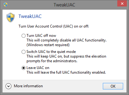 stop uac prompt