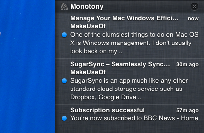 Quickly Check RSS Headlines With Fresh Feed for Mac monotony notifications