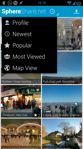 Enjoy Breathtaking Panoramic Views With SphereShare.net [Android] sphereshare 05 dropdown