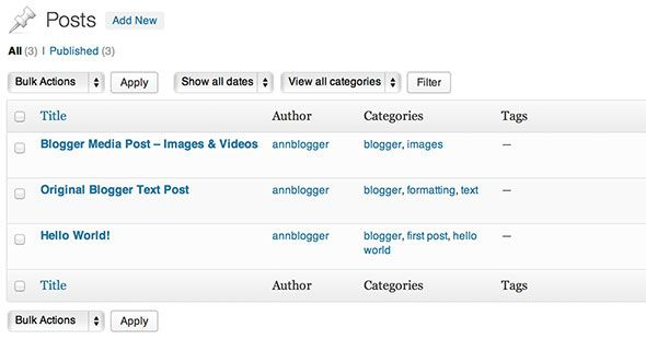 Blogger To WordPress, WordPress To Blogger - Switching Blogs Tested wp x results