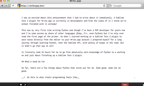 writeapp2   WriteApp: A Distraction Free Web Based Writing App