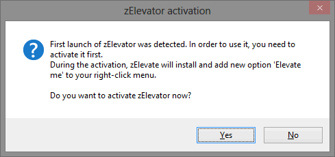 Stop Annoying UAC Prompts - How To Create A User Account Control Whitelist [Windows] zElevator Activation Window