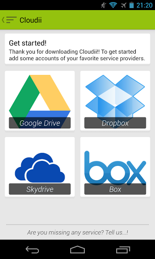 12   Cloudii: Manage Multiple Cloud Services (Google Drive, Dropbox, Skydrive, Box) From a Single App [Android]
