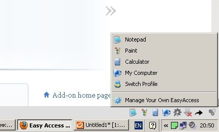 easy access firefox add-on