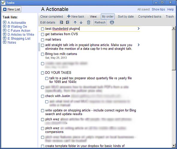 Using Google Tasks