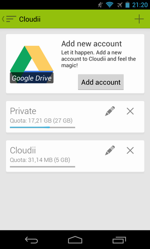 21   Cloudii: Manage Multiple Cloud Services (Google Drive, Dropbox, Skydrive, Box) From a Single App [Android]