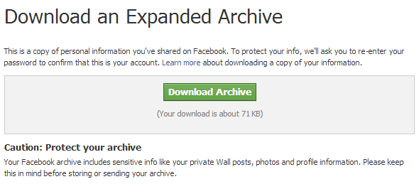 Facebook Download Expanded Archive