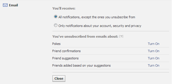 Facebook Email Notifications Settings