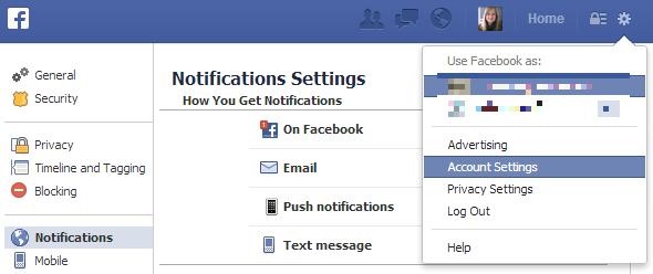 email notifications for facebook