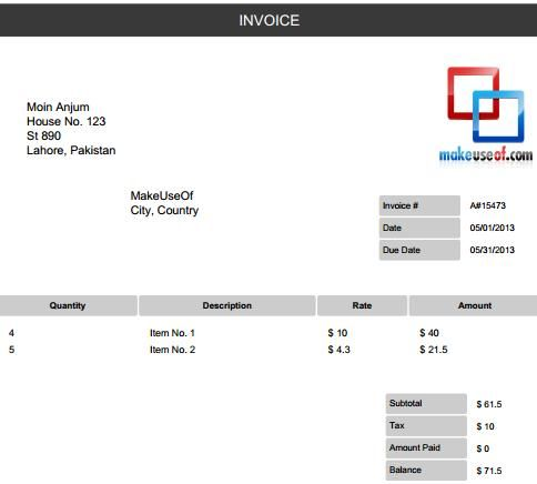 free invoice generator: create and email invoices or download as pdf, Invoice examples