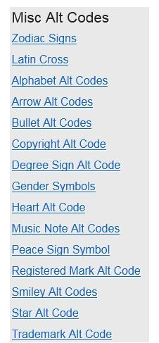 Alt-Codes: An Online List Of Alt Codes To Let You Use Special Text Symbols Misc