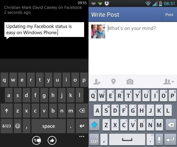 facebook home vs windows phone