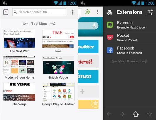 Next Browser for Android: A Web Browser With Tabs, Speed