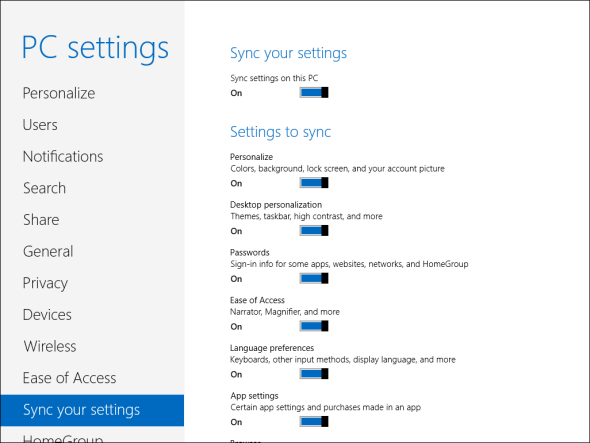Sync Windows 8 Settings