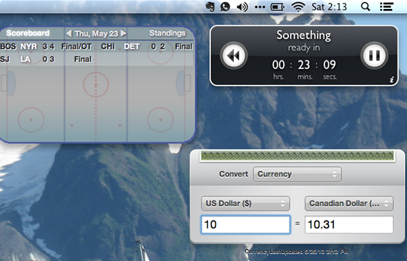 mountain lion widgets on desktop