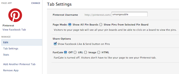 integrate pinterest with facebook page