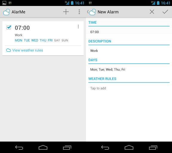 android weather alarm clock