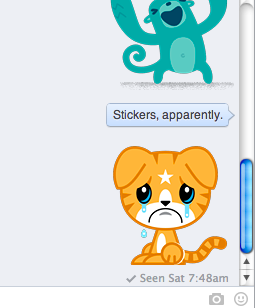 Facebook Chat Stickers: What Are They & Should You Use Them? [Weekly Facebook Tips] Facebook Stickers In Action
