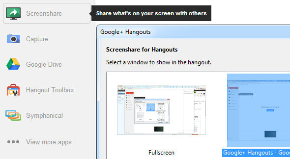 Google Hangout Screenshare