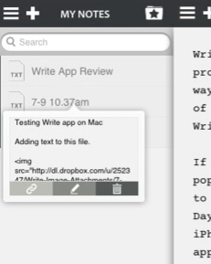 Write app quick look