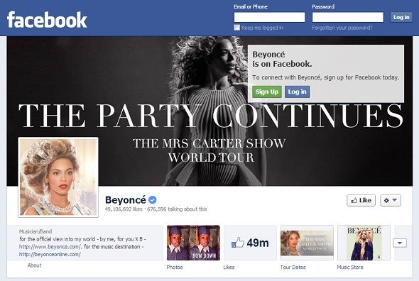 We Like You: 8 Musicians With The Most Popular Pages On Facebook facebook beyonce