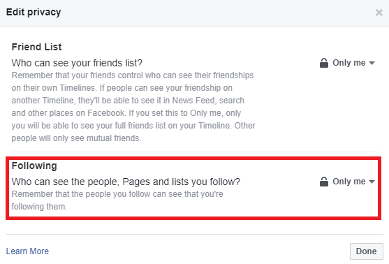 facebook follows public