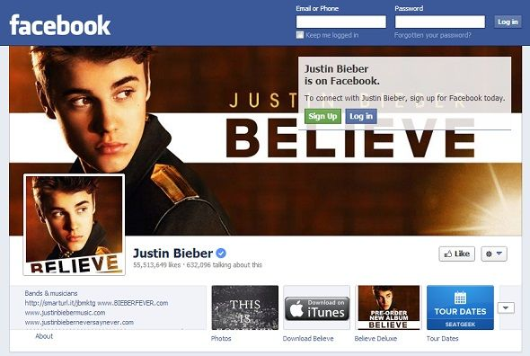 We Like You: 8 Musicians With The Most Popular Pages On Facebook facebook justin bieber