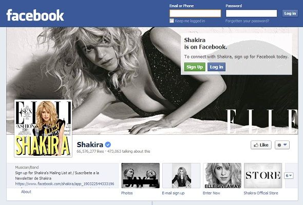 We Like You: 8 Musicians With The Most Popular Pages On Facebook facebook shakira