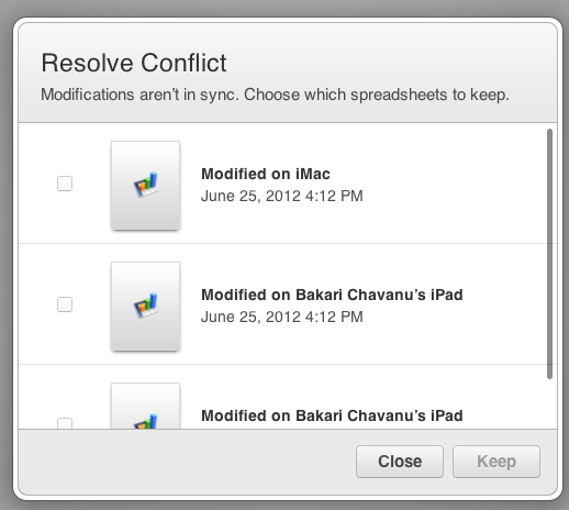 IWork for iCloud conflicts