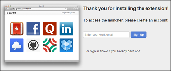 4 Great Apps And Extensions To Renovate Chrome's New Tab Page 14 StartHQ create an account