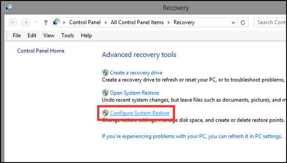 16 recovery tools - configure system restore