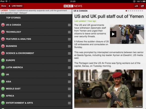Get Your iOS International News Fix From The BBC bbcnews customise 590x442