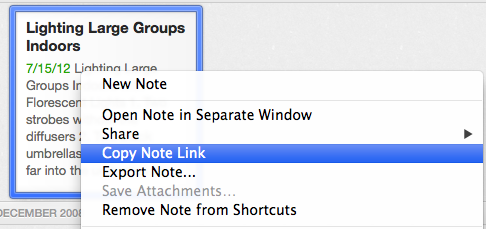 Note link Evernote