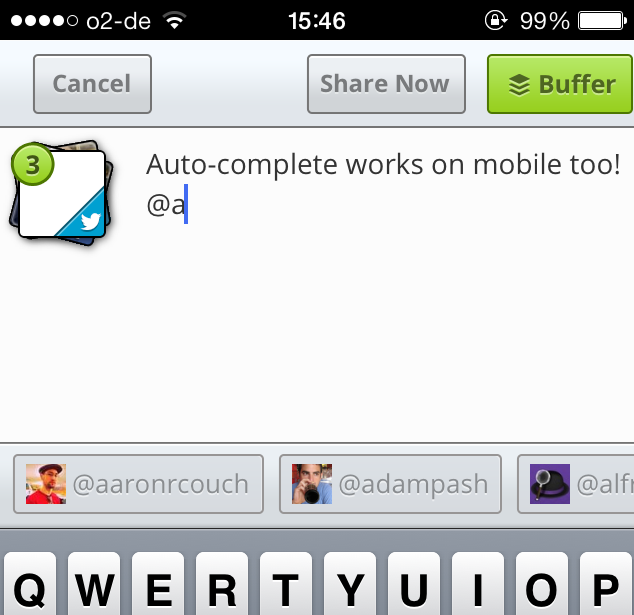 Buffer Introduces Smart Twitter Auto-Complete auto complete mobile