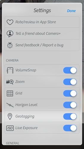 Camera+ for iPhone Adds Powerful Controls Without Over-Complicating Things camplus settings1