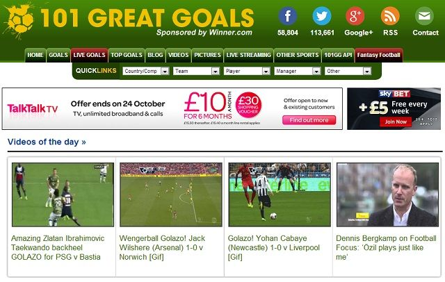 8 Super Websites for Soccer Fans 101 great goals homepage