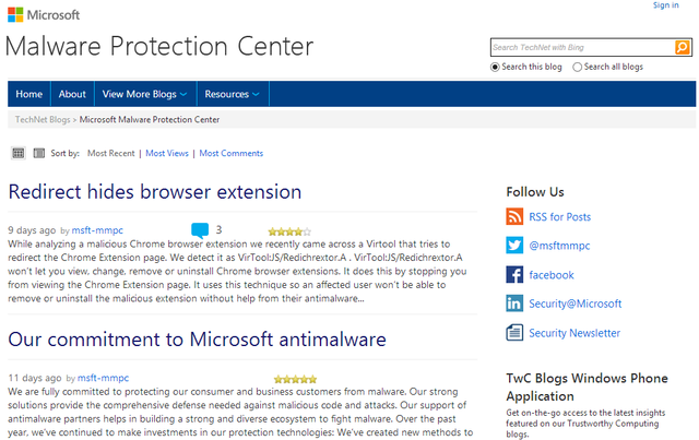 9 Microsoft Malware Protection Center