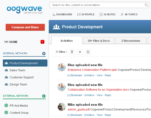 Oogwave dashboard