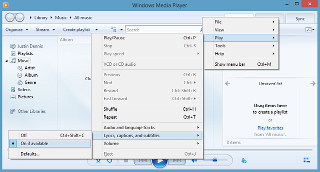 This is how you can add external subtitles on windows media player select captions on wmp ccuart Image collections