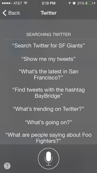 Siri search tweets