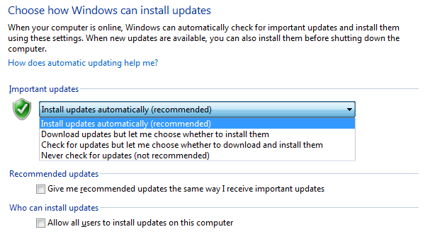 Windows Update Options