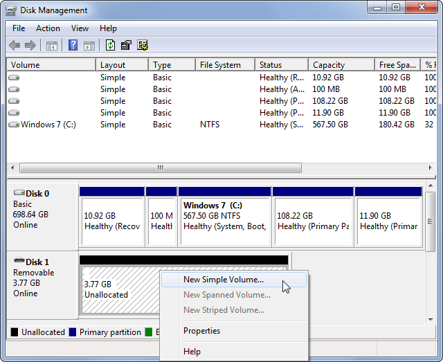 Windows Disk Management New Simple Volume