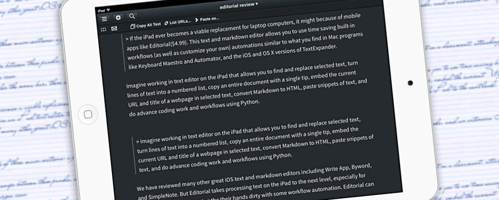 Editorial Brings Powerful Text Editing and Automation to iPad