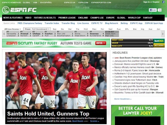 8 Super Websites for Soccer Fans espnfc homepage
